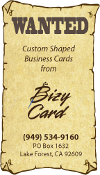 Wanted Poster Die Cut Business Card