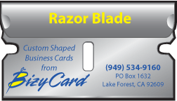 Razor Blade Shaped Business Cards