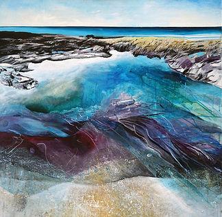 Purple Rocks Beneath Turquoise Pools, Gr