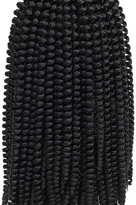 SPRING TWIST  CROCHET HAIR  COLOR 1B  (OFF BLACK)  8''