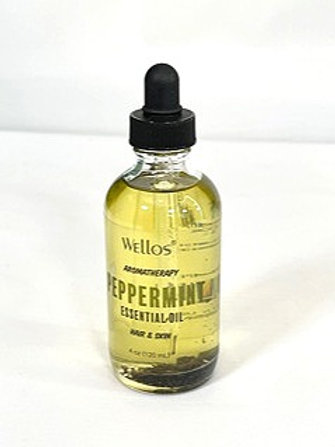 Wellos Aromatherapy Essential Oil Hair & Skin Peppermint 4oz
