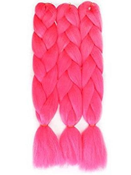 24'' SINGLE TONE BRAIDING HAIR COLOR ROSE PINK