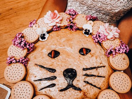 Löwenkuchen | Veganer Zitronenkuchen mit Zuckerguss & Keksmähne