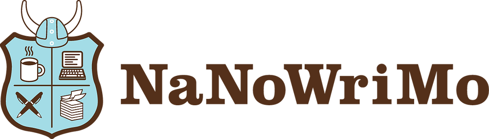NaNoWriMo text and shield logo