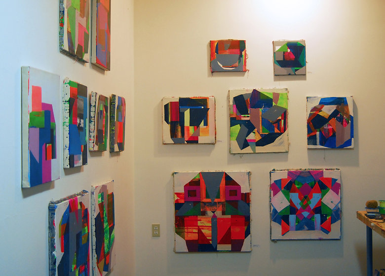 Art studio, abstract paintings, Catherine Scala