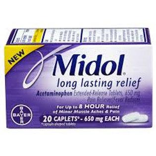 Midol Long Lasting Relief 20 Caplets, Acetaminophen ER (650 mg EACH)