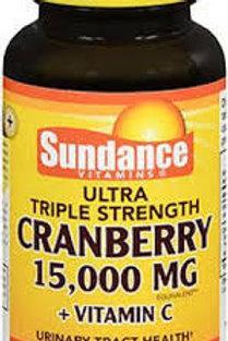Sundance Vitamins Triple Strength Cranberry + Vitamin C Capsules, 15000 mg, 60 C