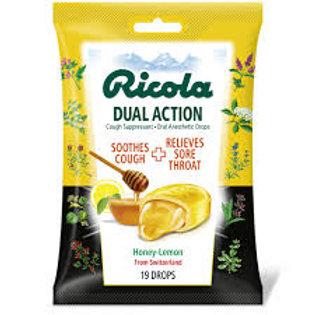 Ricola Dual Action Cough Drops Honey-Lemon 19 ct