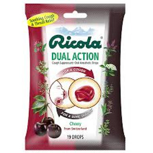 Ricola Dual Action Cough Suppressant/Oral Anesthetic Drops Cherry 19ct