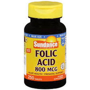 Sundance Folic Acid 800 mcg Tablets, 250 Count