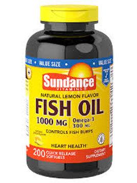 Sundance Vitamins Fish Oil 1000 mg /Omega-3 300 mg, Natural Lemon Flavor, 200 ea