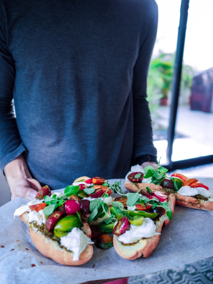 Burrata and Tomatoes Open-Faced Sandwich