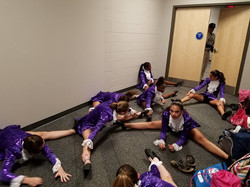 Stretching in the club house
