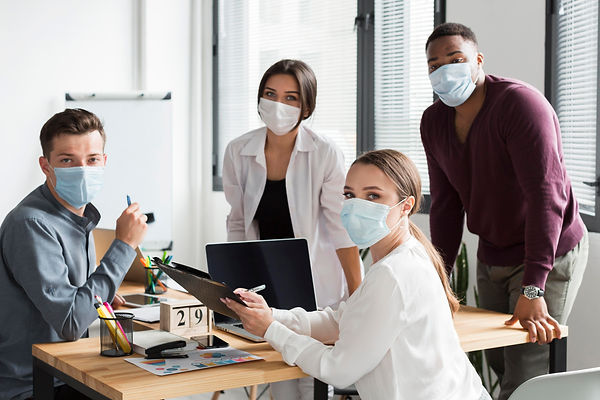 working-team-office-during-pandemic-wear