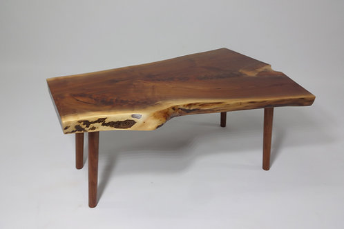 Live Edge Walnut Coffee Table with Turned Legs