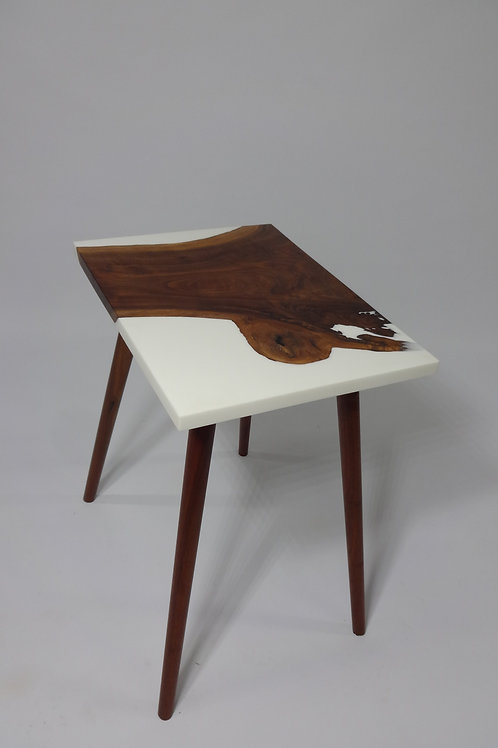 Walnut and White Resin Side Table