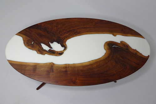 Oval Walnut and White Resin Coffee Table