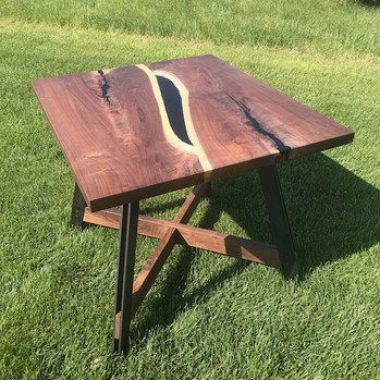 Reverse Bookmatch Table with Steel and Walnut