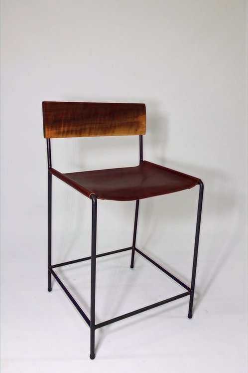 Bison Leather, Walnut and Steel Bar Stool