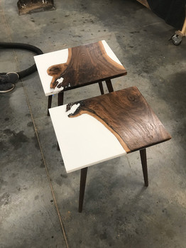 Walnut and Resin Side Tables