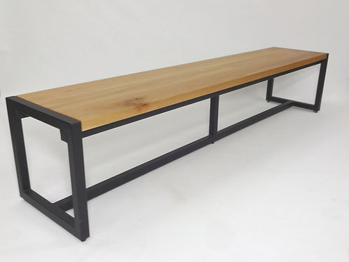 Custom Steel and White Oak Bench