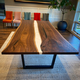 Large Walnut and Resin Dining Table