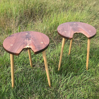 Walnut and Maple Side Tables