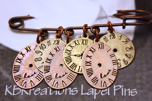 Copper Clock Lapel Pin