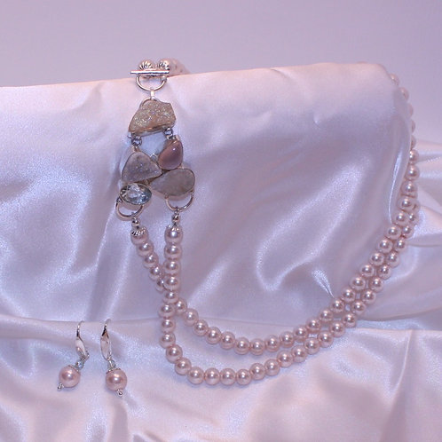 Double Strand Pink Pearl Necklace