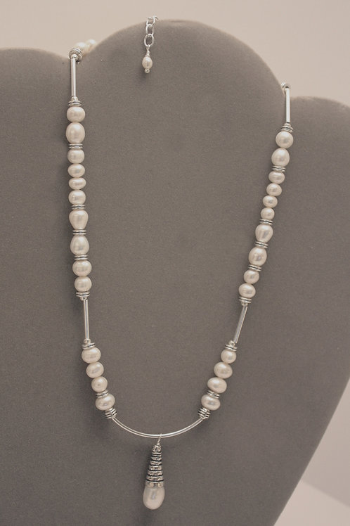 White Freshwater Pearl Drop Necklace
