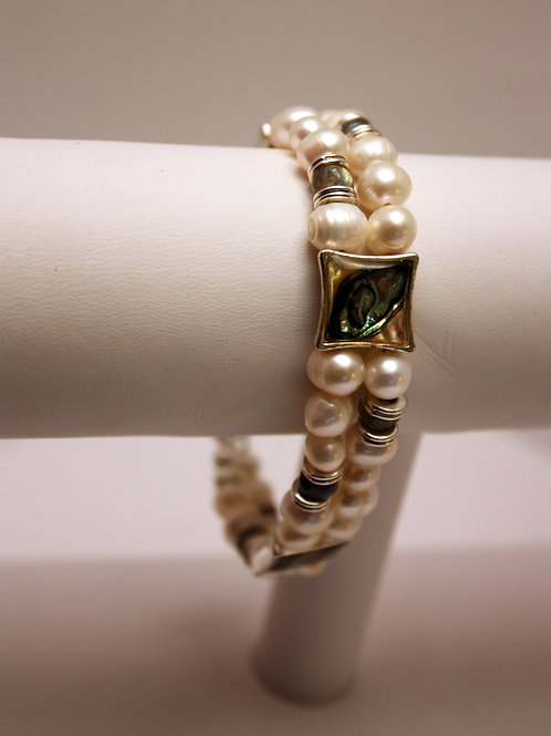 White Abalone and Pearl Bracelet