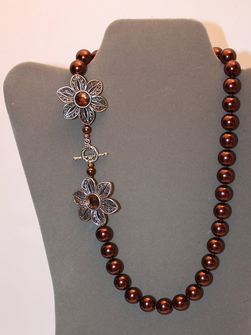 Chocolate Brown Glass Floral Necklace