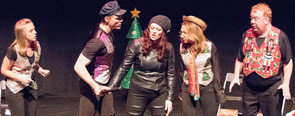 A mall cop and customer confront Holly as two Storytellers look on: Alexis DiGregorio, Brandon Grimes, Kaitlyn Sarah Baldwin, Kristine Louis, and Richard Butler.