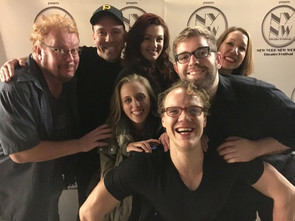 The cast at the New York New Works Theatre Festival (from the left top): Richard Butler, John Skocik, Kaitlyn Sarah Baldwin, Will Buck, Kristine Louis, Alexis DiGregorio, and Brandon Grimes.