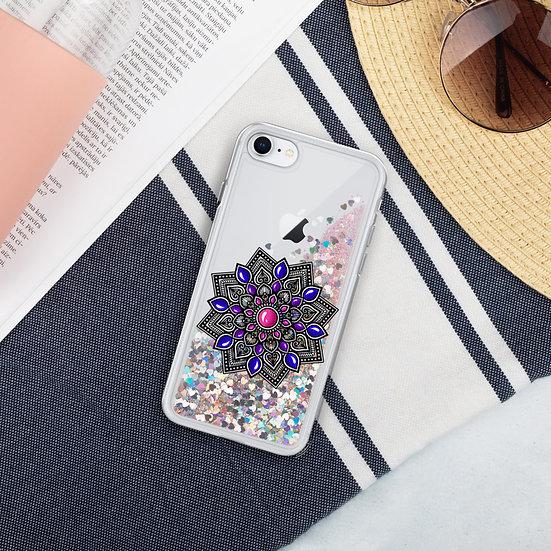 Pink-Blue color gradient Liquid Glitter iPhone Case