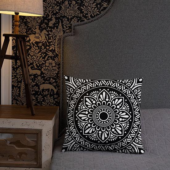 Traditional Mandala (B&W) Pillow