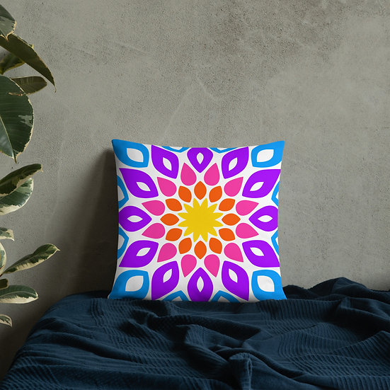 Colorful Simple Floral Mandala Pillow