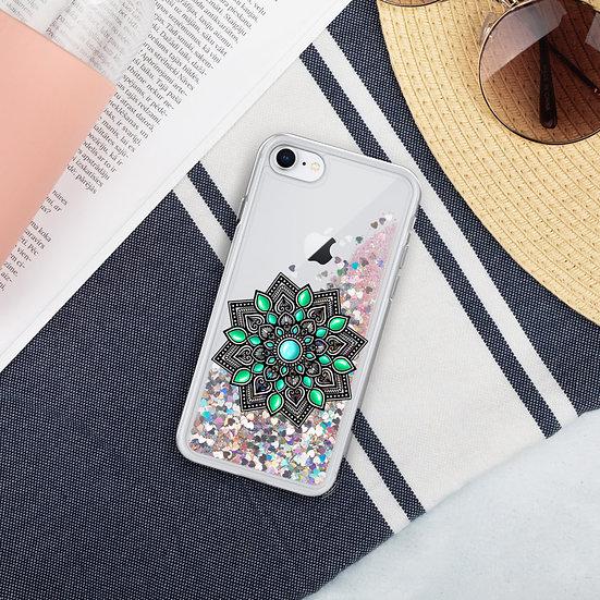 Turquoise color gradient Liquid Glitter iPhone Case