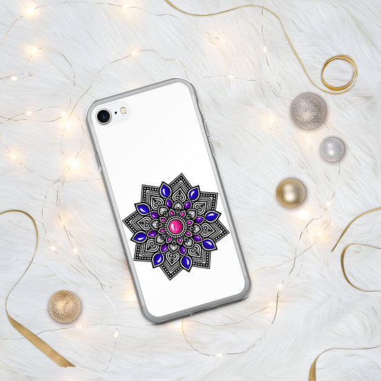 Pink-Blue color gradient Mandala iPhone Case