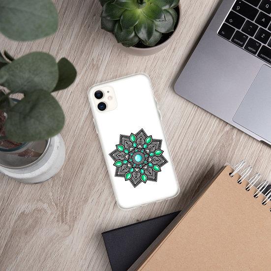 Turquoise color gradient Mandala iPhone Case