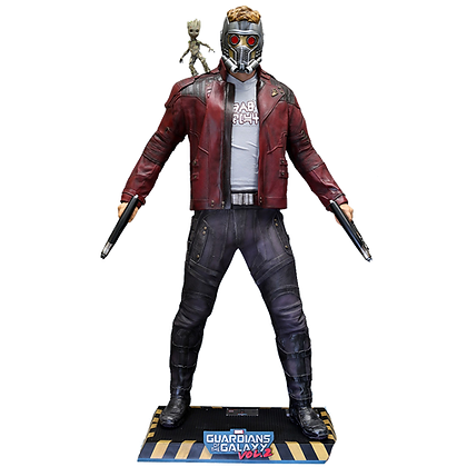 MARVEL GUARDIANSOF THE GALAXY VOL. 2 STAR-LORD & LITTLE GROOT LIFE SIZE FIGURE