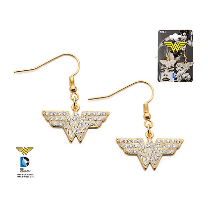WONDER WOMAN GOLD CLASSIC LOGO DANGLE EARRINGS WITH CUBIC ZIRCONIA GEMS