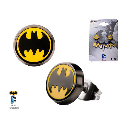 DC BATMAN CLASSIC LOGO ENAMEL STUD EARRINGS