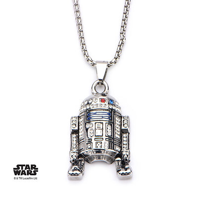 STAR WARS WOMEN'S STAINLESS STEEL R2-D2 GEM STONE PENDANT WITH CHAIN