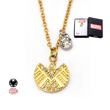 MARVEL AGENTS OF SHIELD LOGO GOLD GEM PENDANT NECKLACE