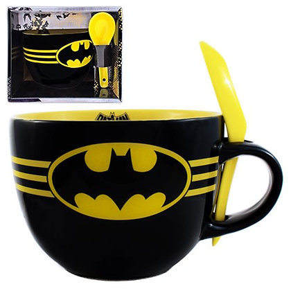 DC BATMAN BATS SOUP MUG WITH SPOON