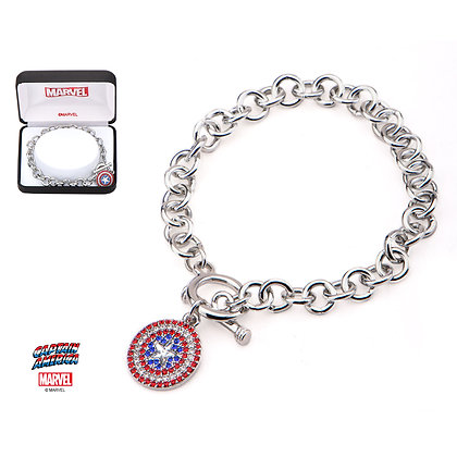 MARVEL CAPTAIN AMERICA SHIELD CHARM BRACELET WITH BLUE, RED & CLEAR ZIRCONIANS