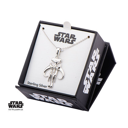 STAR WARS STERLING SILVER MANDALORIAN SYMBOL CUT OUT PENDANT NECKLACE