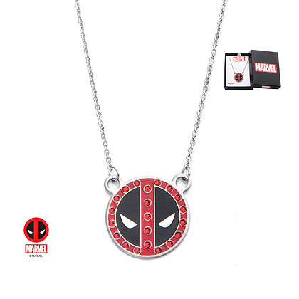 MARVEL DEADPOOL LOGO STAINLESS STEEL WITH GEM PENDANT NECKLACE