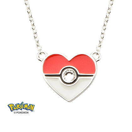 Pokemon POKE BALL HEART WITH GEM PENDANT NECKLACE